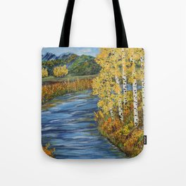 Autumn in the Mountains, Fall Decor, Aspen Birch Tree Painting Tote Bag