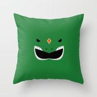 power ranger Throw Pillows featuring Green Ranger Remix by hellostranger
