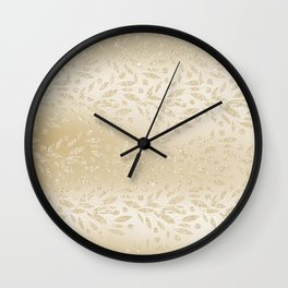 Luxury ivory glam gold glitter gradient floral Wall Clock