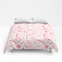 Doodle Christmas pattern red Comforters