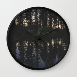 Manzanita Lake at Sunset Wall Clock