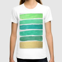 Gold and Green Stripes T-shirt