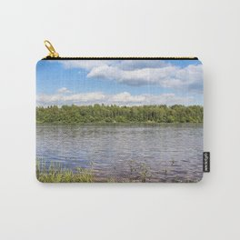 White clouds over the river. Carry-All Pouch