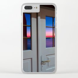 Sunset through the door Clear iPhone Case