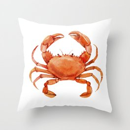 Watercolor Red Crab on White Minimalist Coastal Art - Treasures of the Sea Collection Throw Pillow