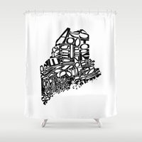 maine Shower Curtains featuring Typographic Maine by CAPow!