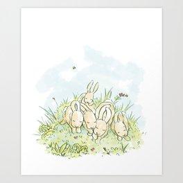 Sleeping Bunnies Art Print