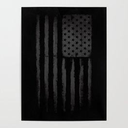 Grey American flag Poster