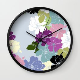 Purple Poppy Toss Wall Clock
