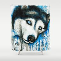 husky Shower Curtains featuring Husky by Villarreal