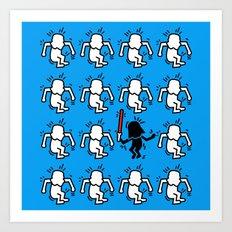 Keith Haring & star W. Art Print