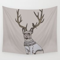 frenchie Wall Tapestries featuring Deer Frenchie  by Huebucket