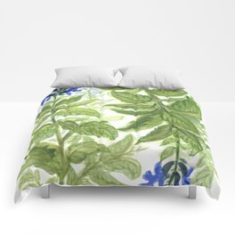 Blue Wildflower Watercolor Comforters
