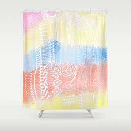 Buildings in white doodle over watercolor Shower Curtain