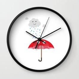 Rain cloud and umbrella   Wall Clock