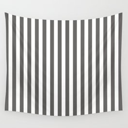 Pantone Pewter Gray & White Stripes, Wide Vertical Line Pattern Wall Tapestry