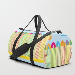 Beach cabins pattern stripes Duffle Bag