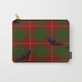Scottish Tartan Pattern-Black Gothic Bats Art Design Carry-All Pouch