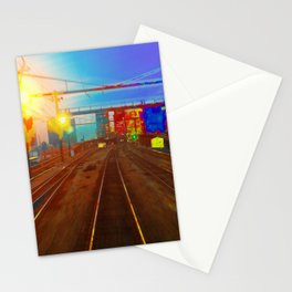 The Past Train 2 Square Stationery Cards
