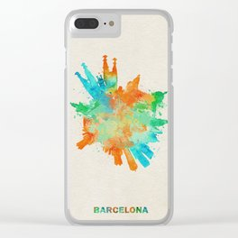 Barcelona, Spain Colorful Skyround / Skyline Watercolor Painting Clear iPhone Case