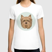 yorkie T-shirts featuring Yorkshire Terrier Pattern by Mari Anrua