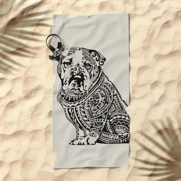 Polynesian English Bulldog Beach Towel