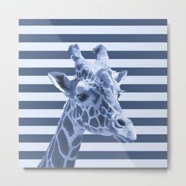[Animals & Stripes] Blue giraffe Metal Print