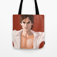 vampire diaries Tote Bags featuring Ian Somerhalder from the Vampire Diaries swag based off comic book cover by Storm Media