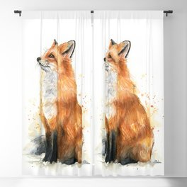 Fox Watercolor Red Fox Painting Blackout Curtain
