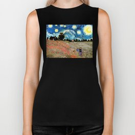 Monet's Poppies with Van Gogh's Starry Night Sky Biker Tank