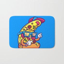 Background of modern pizza slice with skateboard Bath Mat