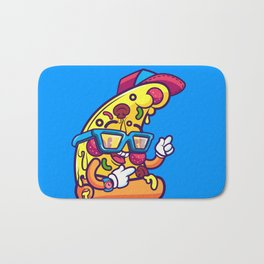 Background of modern pizza slice with skateboard Bath Mat