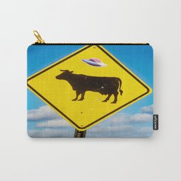 Alien Cow - UFO Hovers Over Cow Sign in New Mexico Carry-All Pouch