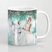 princess mononoke Mugs featuring Princess Mononoke by VivianLohArts