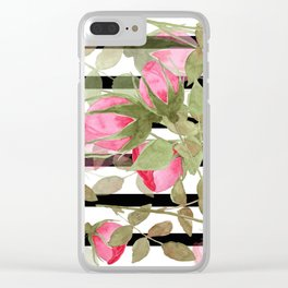 Watercolor . Buds of roses on a striped black and white background Clear iPhone Case