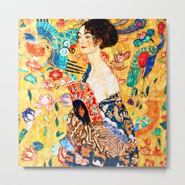 Gustav Klimt - Lady with a Fan - Dame mit Fächer - Vienna Secession Painting Metal Print