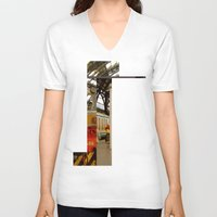 milan V-neck T-shirts featuring milan glitch by Martin Summers