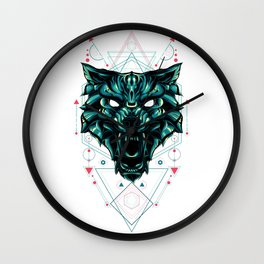 The green wolf sacred geometry Wall Clock