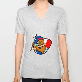 French Eagle Holding Flag and Baguette Cartoon Unisex V-Neck
