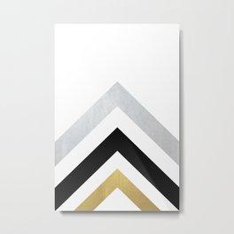 Minimalist Geometric - Black & Gold Metal Print