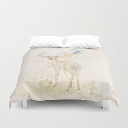 Deer and butterfly Duvet Cover