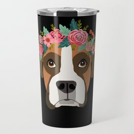 Boxer dog breed with floral crown cute dog gifts pure breed Boxers Travel Mug