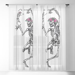 Two Dancing Skeletons   Day of the Dead   Dia de los Muertos   Sheer Curtain