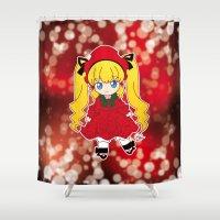 chibi Shower Curtains featuring Chibi Shinku by Yue Graphic Design