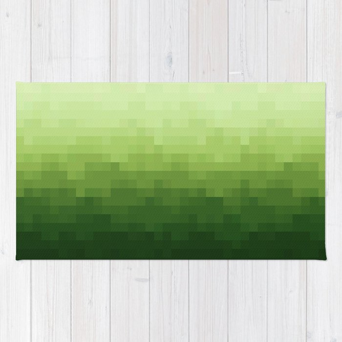 Gradient Pixel Green Rug By Colorandpatterns