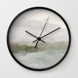 Gray Blue Sage Green Sunrise Abstract Nature Ocean Painting Art Print Wall Decor  Wall Clock