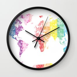 world map floral 2 Wall Clock