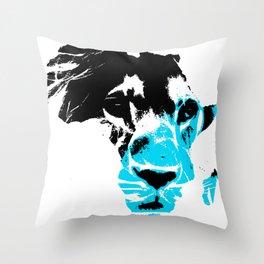 Lion Heart Africa Aqua Blue Throw Pillow
