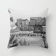 Tenby Harbour. Black+White. Reflection. Throw Pillow
