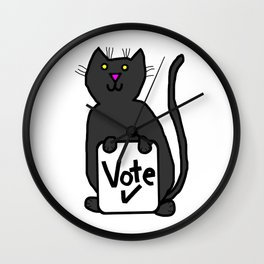 Cute Cat with Vote Sign Wall Clock